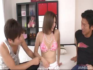Big boob newborn Mai Kuroki teases be passed overhead boys ntil they bleed for their way shaved pussy