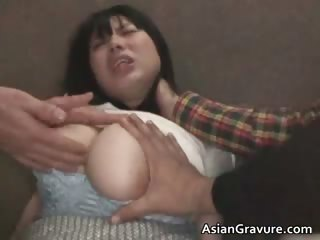Cute asian cosset with huge juggs gets