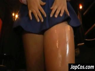 Asian girl gets her ass oiled relating to and shows it off for some massaging