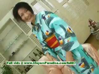 Megumi Haruka innocent lovely japanese dame in livery fondles her pussy