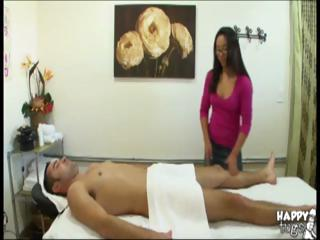 Cute Asian masseuse rides his locate