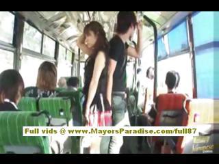 Mihiro asian model enjoys a fucking on the bus