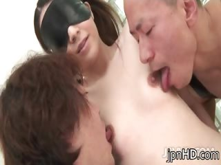 Two guys unrestrainedly shafting hot blindfolded