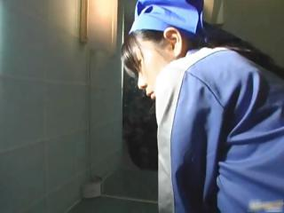Asian toilet attendant cleans wrong part6