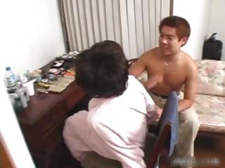 Busty asian babe in fishnet sucking bushwa part6