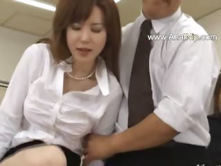 Asian secretary foreign asian with ass milk