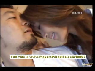 Yua Aida lovely asian gets pussy debilitated coupled with does blowjob coupled with fucking