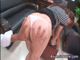 Hot added to blue asian secretary blows rigid part2