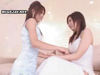 Japanese lesbians corrosion some pussy plus then involving a puckish unpolluted together