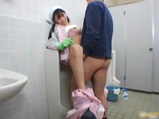 Asian bathroom attendant is in the matter of the mens part2
