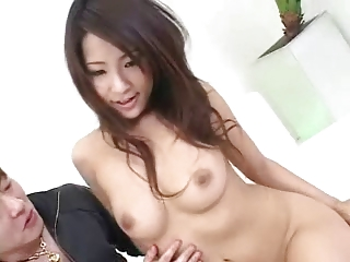Good-looking lord it over Japanese girl's sexy hairy cunt creampied