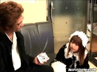 Asian maid gets some dildos