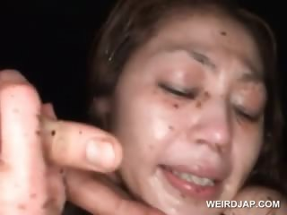 Bonded asian sex slave gets brashness fucked and pissed