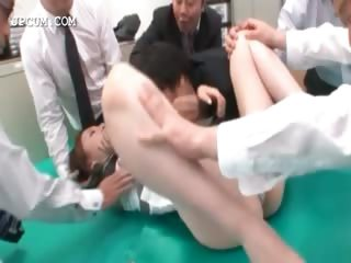 Asian tryst secretary gets cunt teased upskirt wide manipulate
