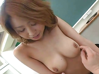 Pretty busty Japanese teacher's hot hairy cunt creampied