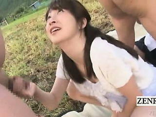 Subtitled parts CFNM Japanese semen train blowjobs