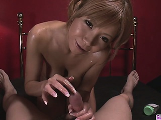 Oiled Up Teen Sumire Matsu Sucks Dick In POV