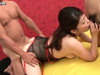 Hot asian babe doing blowjob